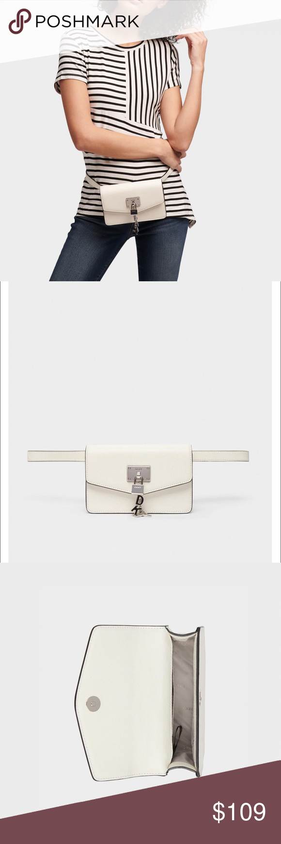 DKNY Women's White LEATHER Belt Bag NWT NWT and dust bag . This Sleek Little Guy…