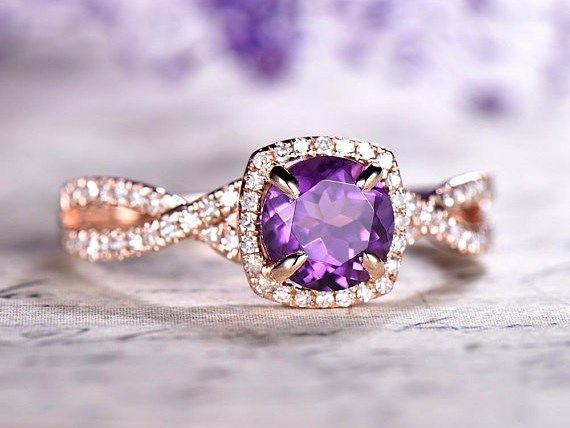 DUPUY Cushion Amethyst Engagement ring twisted diamond band