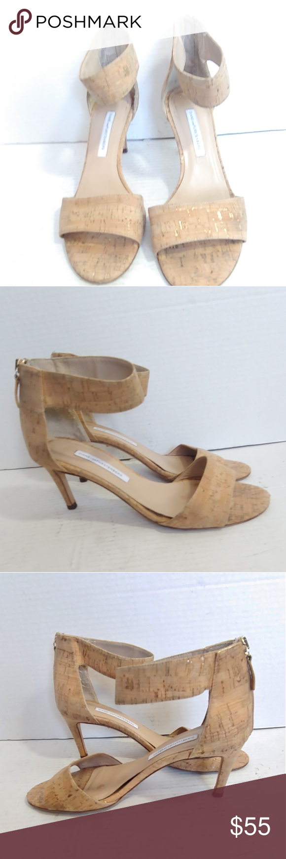 DVF cork kitten heel sandals Diane Von Furstenberg cork kitten heels in good pre…
