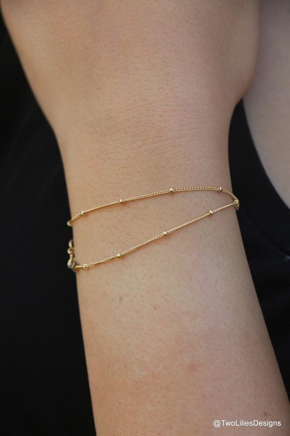 Dainty Gold Bracelet, 14K Gold Filled bracelet, Simple Gold Bracelet, Minimalist Satellite Chain Bracelet, Thin Women Gold Filled jewelry