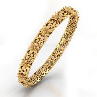 Daisy Garden Gold Bangle | Buy Gold Bangle Online in India