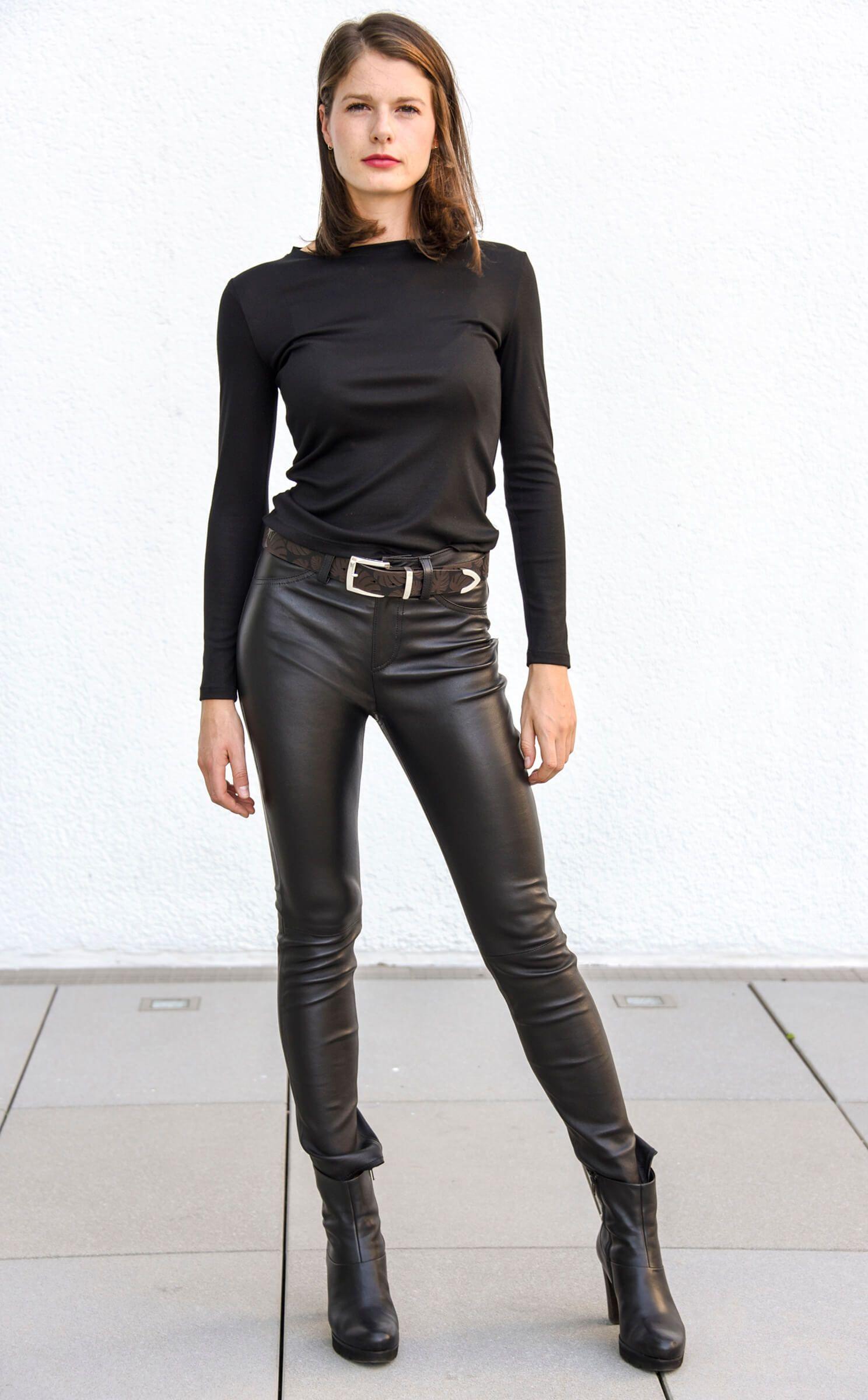 Damen Leder-Jeans, Nappaleder, Schwarz | wunschleder