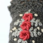 Dark Gray Wrist Warmers With Embroidered Roses, Knitted Fingerless Gloves, Gloves & Mittens, Gift Ideas, For Her, Winter Accessories, Grey