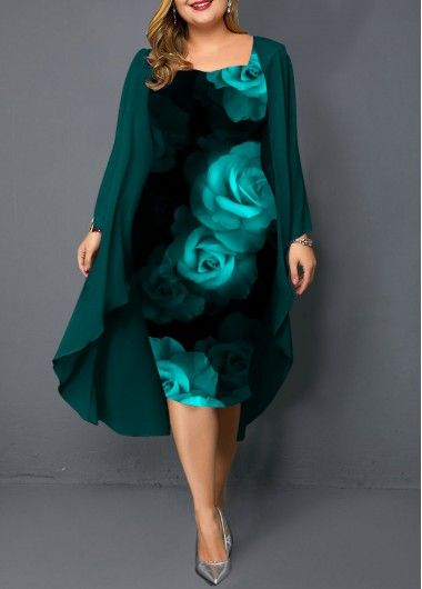 Dark Green Plus Size Chiffon Cardigan and Flower Print Dress | liligal.com – USD…