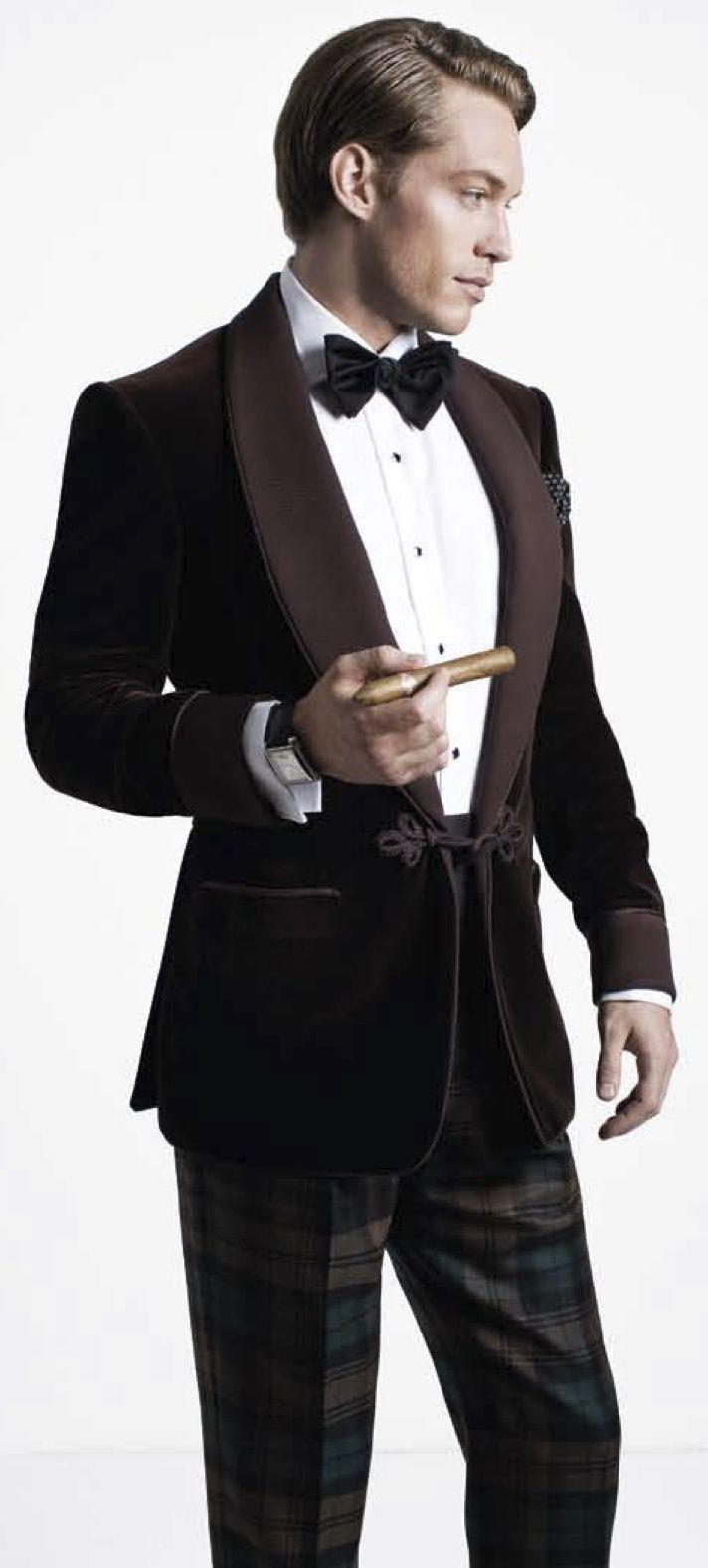 Dark brown cotton silk velvet smoking jacket, black grosgrain bow-tie, green-and…