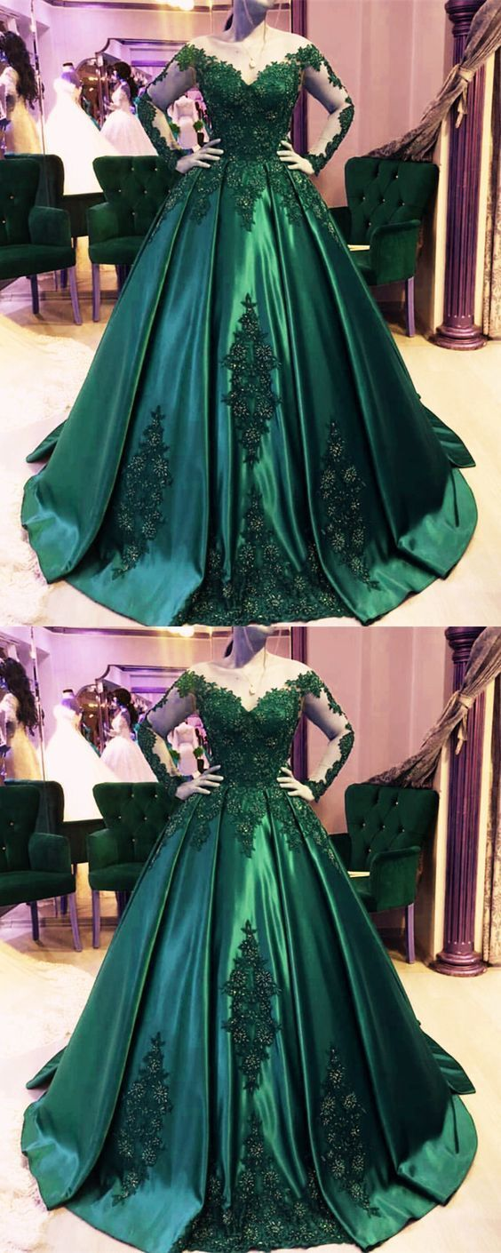 Dark green ball gown,emerald green prom dress,ball gown wedding dress