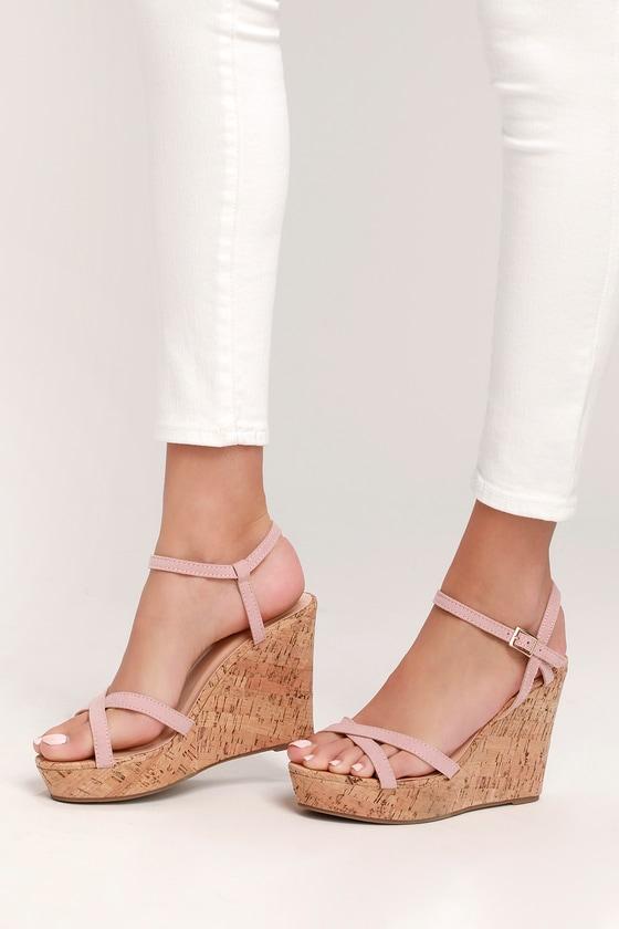 Darlene Blush Suede Wedge Sandals