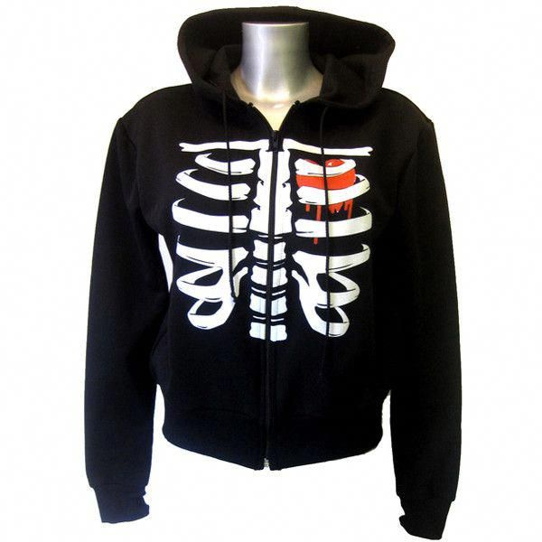 Death Kitty Rib Hoody | Gothic Clothing | Emo clothing | Alternative… ($39) …
