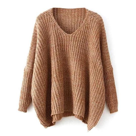 Deep V-Neck Loose Pullover Sweater eotita