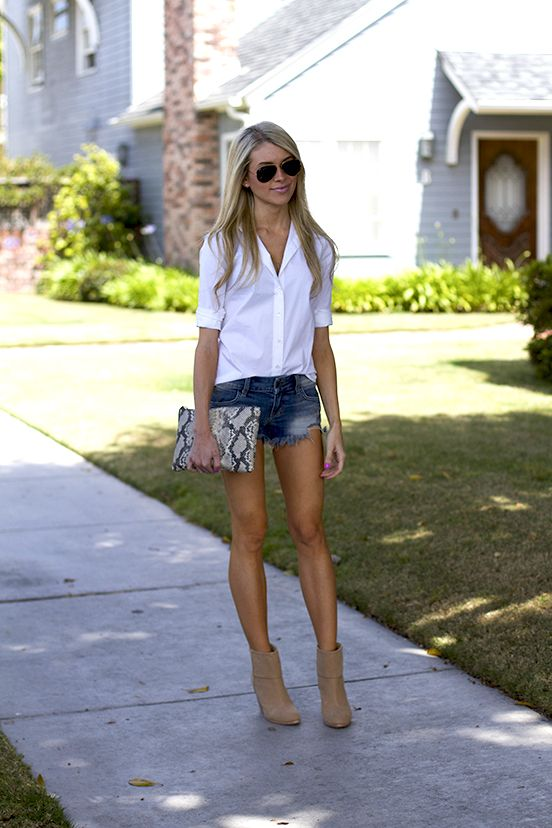 Denim Shorts and a White Shirt: 15 Women Who Nail the Classic Summer Combo