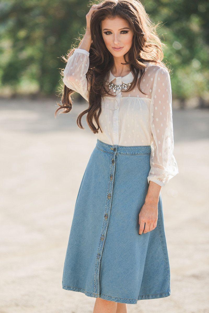 Denim midi skirt, fall fashion, A line skirt, button front, fashion staple piece…