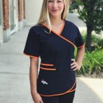 Denver Broncos Women's Mock Wrap NFL Scrub Top
