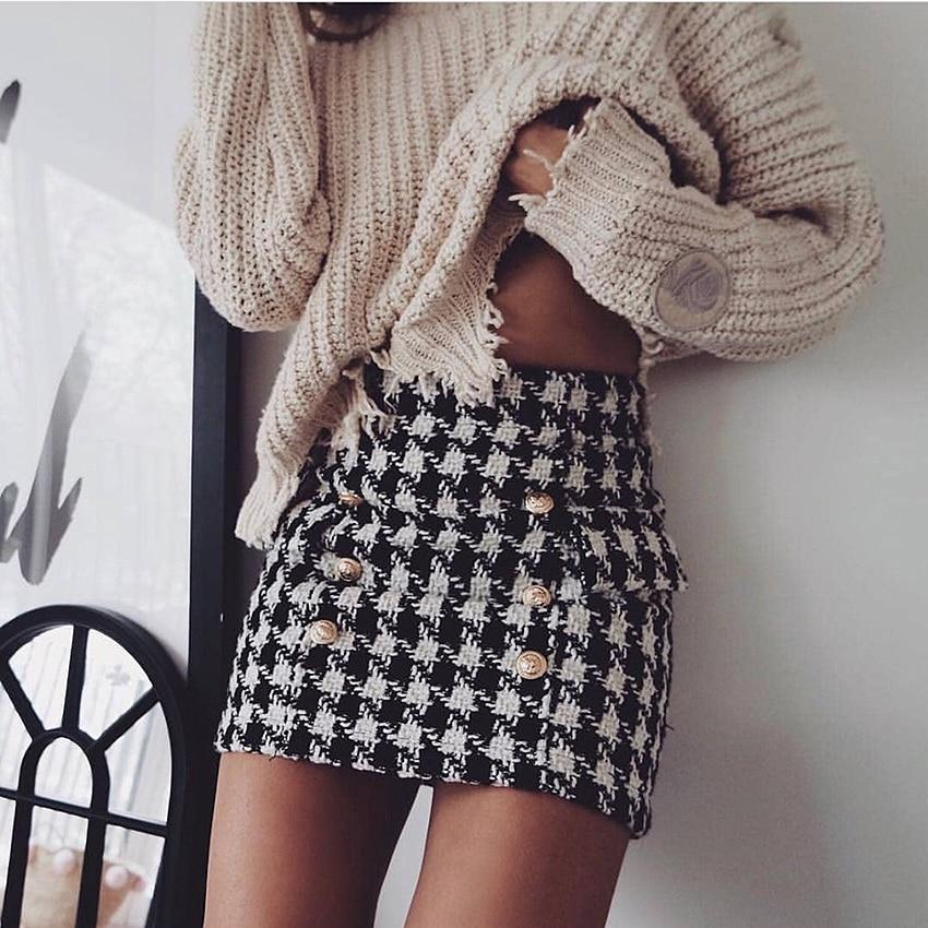 Designer Buttoned Tweed Mini Skirt