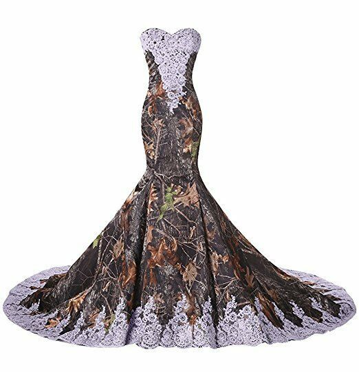 Details about Long Camo Lace Wedding Bridesmaid Dress Camouflage Formal Wedding Dress Custom