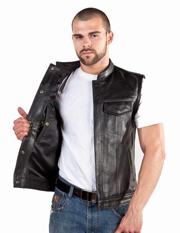 Detalles de Para Hombre Outlaw Cuero Moto Club & Chaleco motero (llevar oculta para armas de fuego)- ver título original