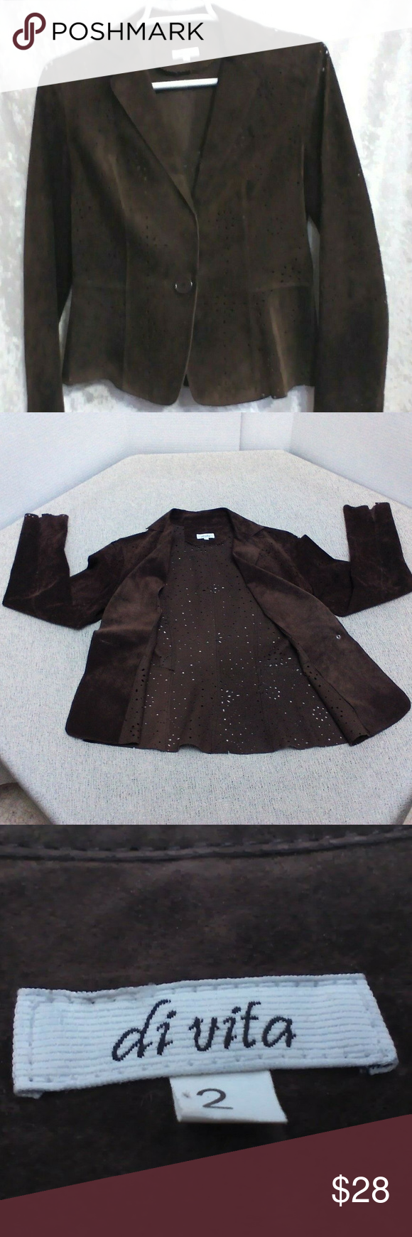 DiVita Womens Jacket Brown Suede Brogue Lazer Cut Pre-owned; Excellent gently wo…