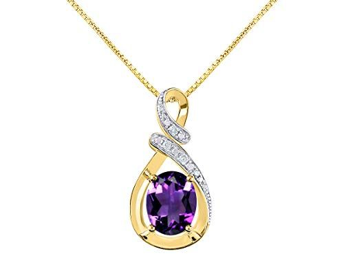 """Diamond & Amethyst Pendant Necklace in 14K Yellow Gold With 18″ Gold Chain – February Birthstone 9X7 Oval Color Stone""""S"""" Designer"""