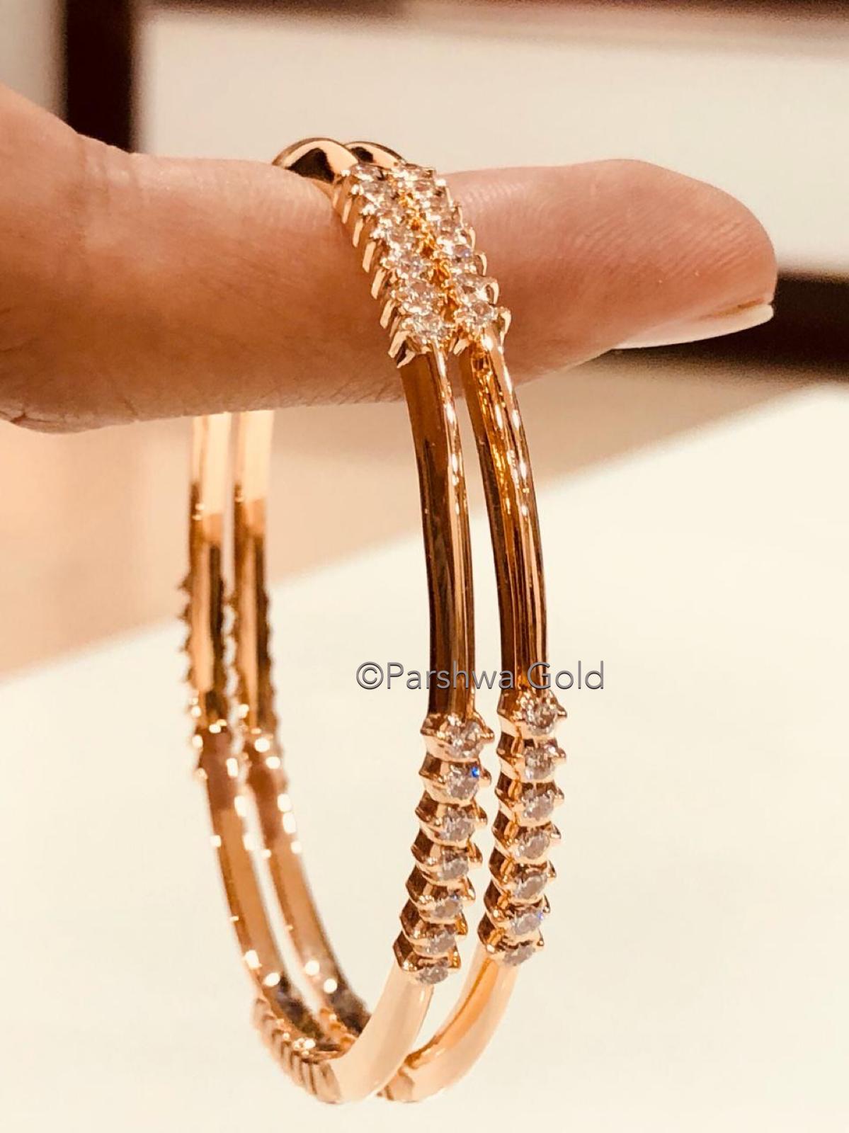 Diamond Bangles by Parshwa Gold Bangalore