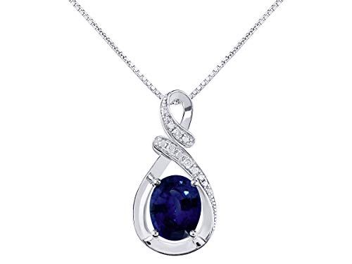 """Diamond & Blue Sapphire Pendant Necklace in 14K White Gold With 18″ Gold Chain – September Birthstone 9X7 Oval Color Stone""""S"""" Designer"""