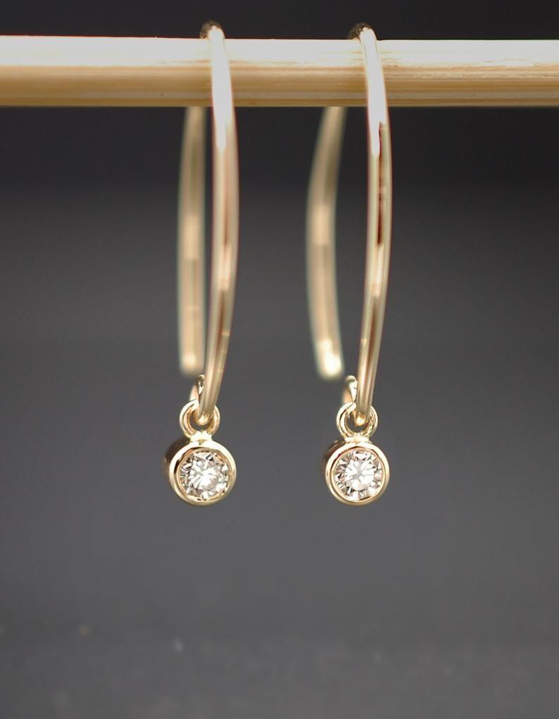 Diamond Drop Earrings / Diamond Dangles / Genuine Diamond Earrings in Solid 14K Yellow Gold