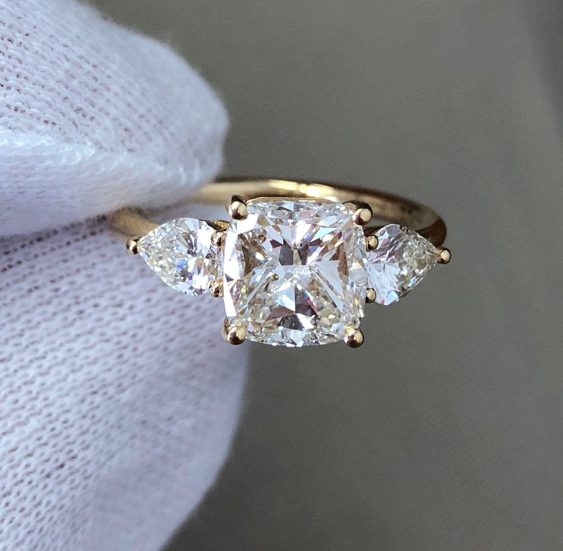 Diamond Engagement Ring, 2.60 Carat Diamond Ring, Cushion Cut with 2 Pear Shape Diamonds, Engagement Ring, 18k Yellow Gold Ring