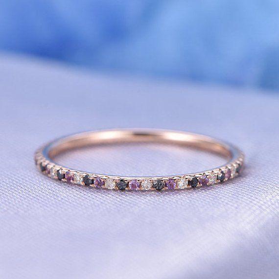 Diamond Wedding Band Full Eternity Black Diamond Amethyst Ring Solid 14k Rose Gold alternant Natural Gemstone Matching Band Custom Ring