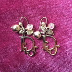 Dior Gold Plated Logo Dangle Earrings Vintage Authentic Dior Gold Plated Logo Ea...