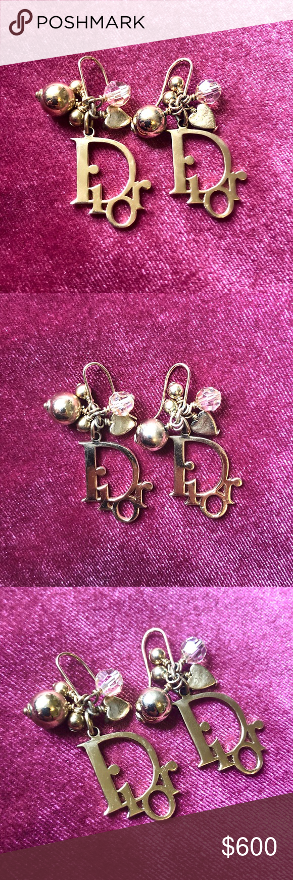 Dior Gold Plated Logo Dangle Earrings Vintage Authentic Dior Gold Plated Logo Ea…