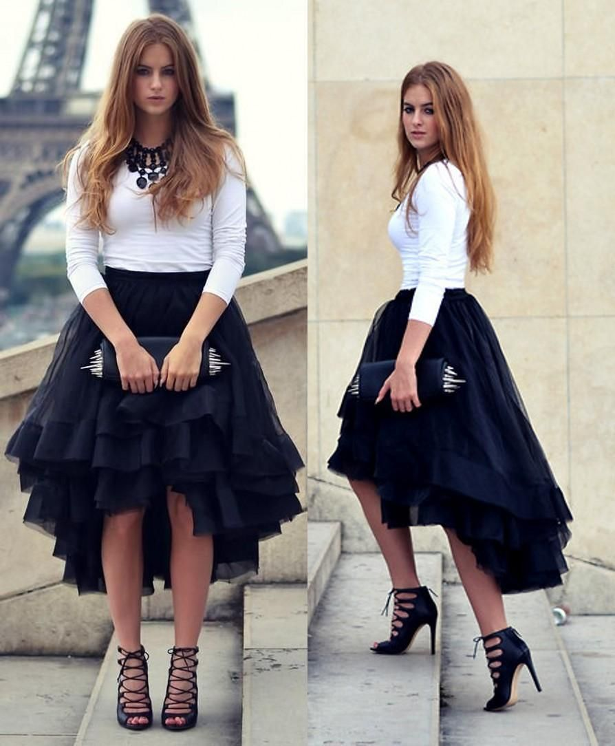 Discount 2016 Fashion Summer High Low Woman Tulle Satin Skirt Tiered Solid Natural Color Girl Gown Tutu Skirt Casual Women Short Skirts For Party Wedding Dresses Under 1000 Wedding Dresses With Color From Cc_bridal, $36.83| DHgate.Com