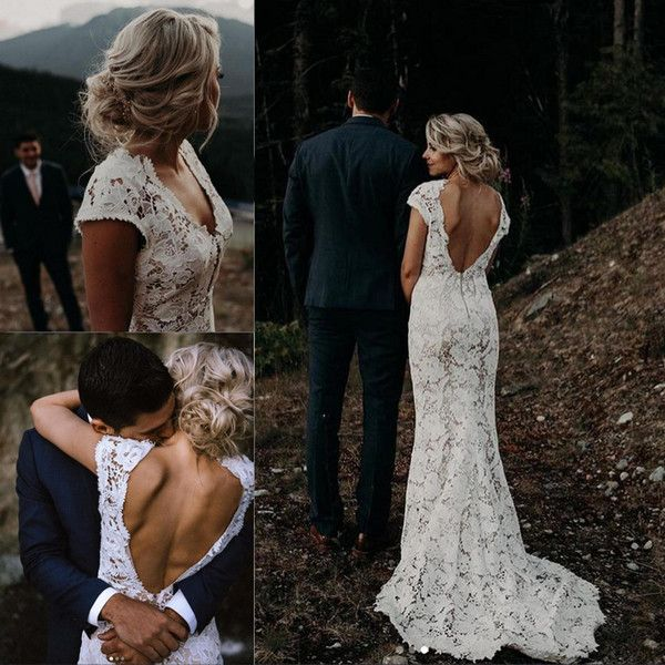 Discount White Lace Garden Boho Wedding Dresses 2019 Vintage V Neck Country Beach Bridal Gowns Vestidos De Novia Low Back A Line Wedding Dress Simple A Line Wedding Dresses Wedding Cheap Dresses From Bridalmall, $116.21| DHgate.Com