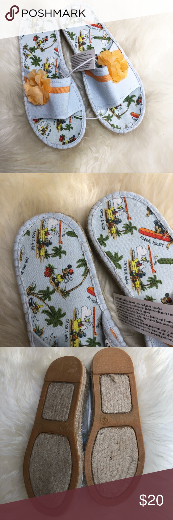 Disney Aloha Mickey friends espadrille sandals New with tag summer wedge sandals…