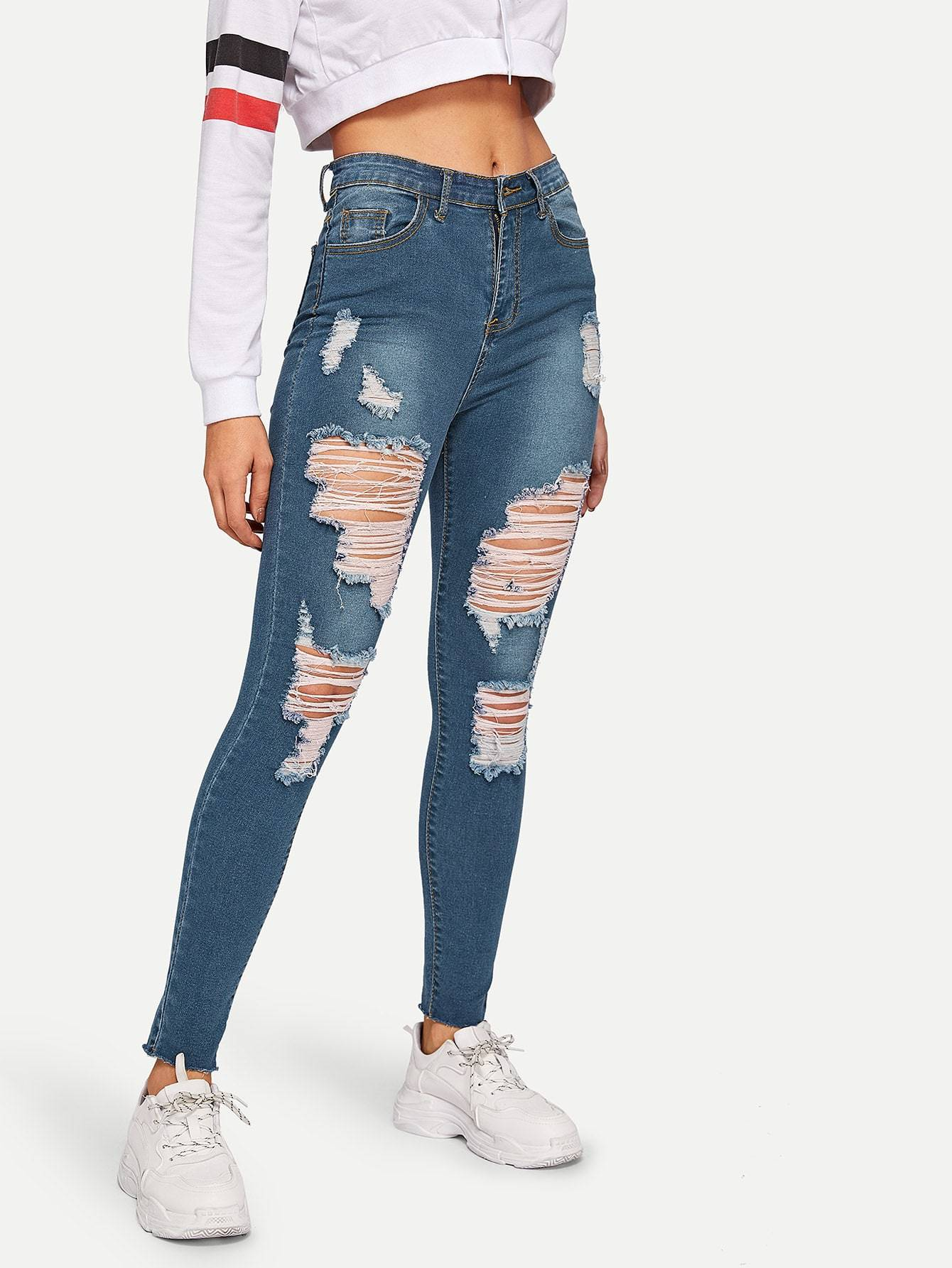 Distressed Raw Hem Skinny Jeans – Marvy Bae