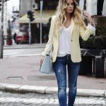 Distressed jeans, yellow pastel blazer and white converses. Spring outfit.