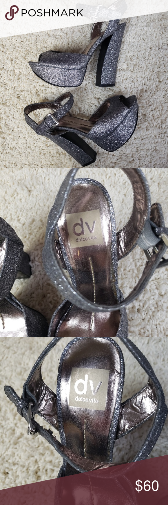 Dolce Vita Silver Glitter Heels Size 7 Almost like new. Some wear around strap a…