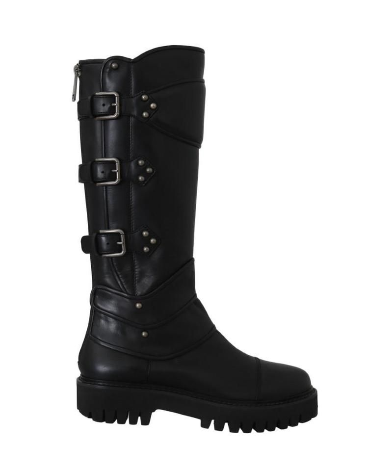 Dolce and Gabbana | Black Leather Knee Biker Boots/booties Size Eu 39 (Appro