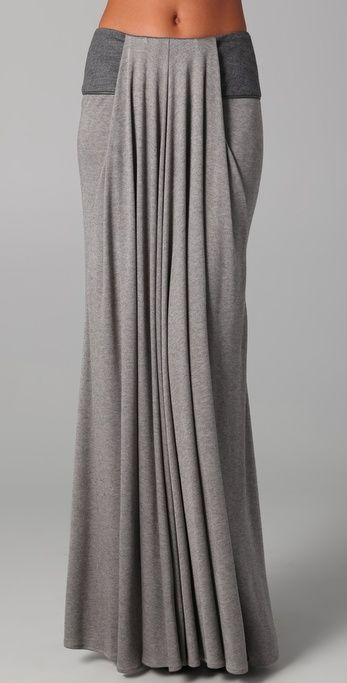 Doo.Ri Long Draped Skirt with Leather Trim | SHOPBOP