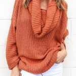 Drop Shoulder Cowl Neck Sweater