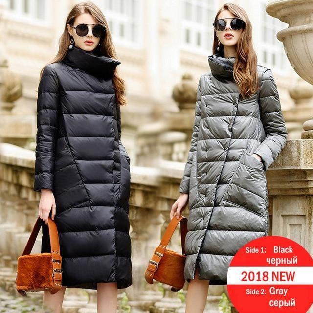 Duck Down Jacket Women Winter 2019 Outerwear Coats Female Long Casual Light ultra thin Warm Down puffer jacket Parka branded – Ivory XXXL
