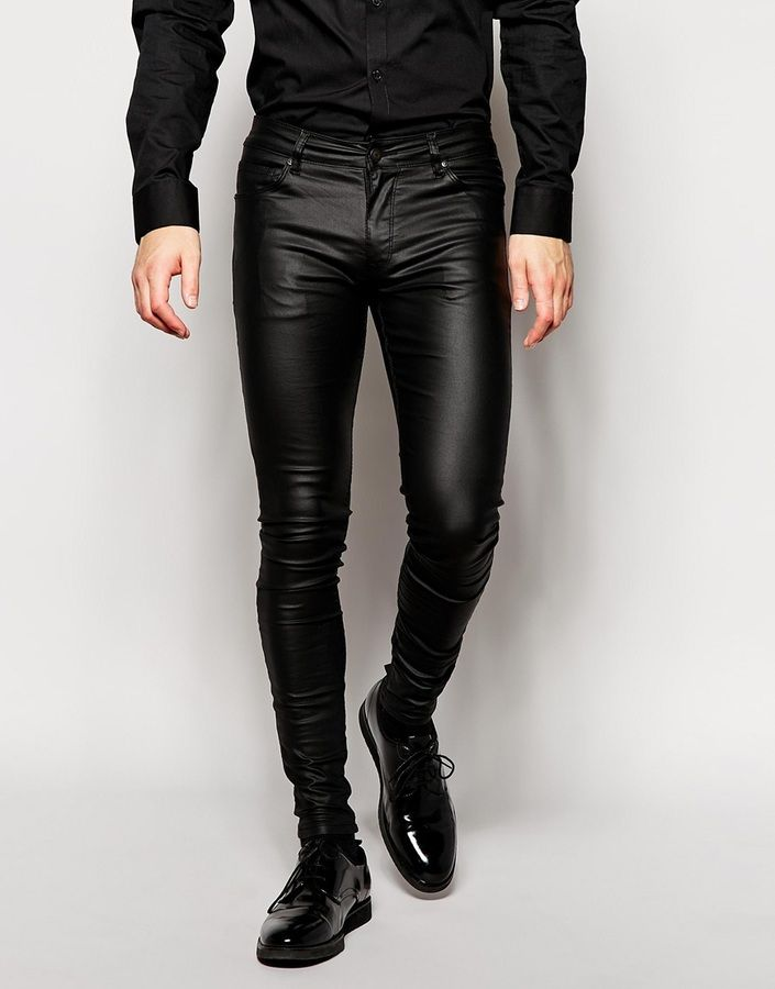 €57, schwarze Lederjeans von Asos