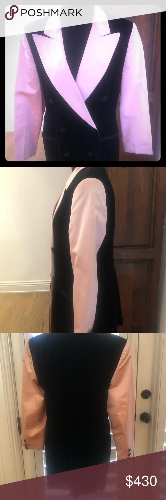 ESCADA pink satin w/ black velvet blazer This Blazer is stunning stunning stunni…