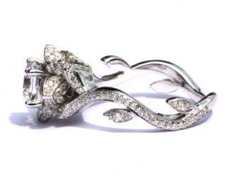 EVER BLOOMING LOVE – Diamond Engagement Rose Lotus Flower Ring – Setting Semi mount – Infinity – Beautiful Petra Patented Design – fL06
