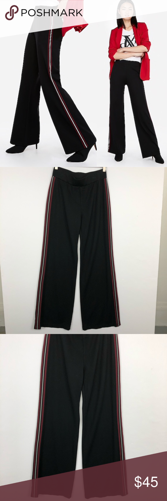 EXPRESS ONE ELEVEN Side Striped Track Pants EXPRESS ONE ELEVEN Women's Small Bla…