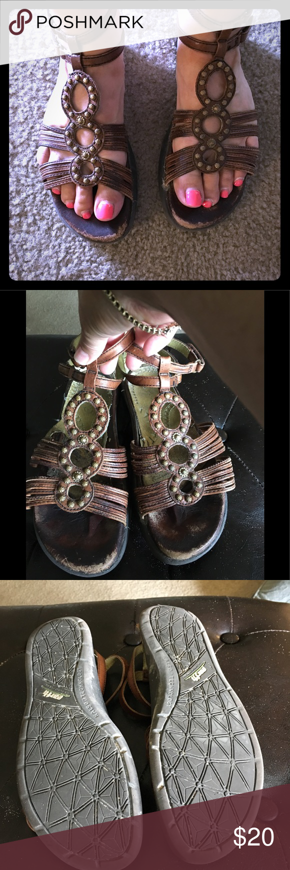 Earth Sandals Roman gladiator sandals – they have some scuffs as seen on toe bed…