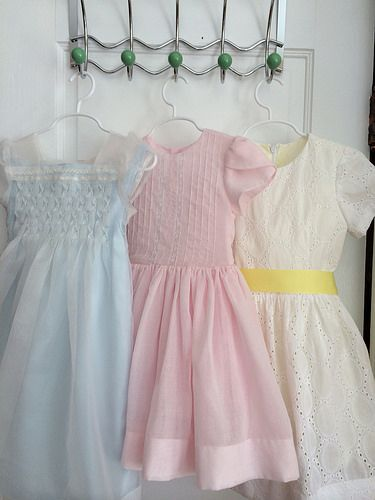 Easter dresses for little girls (granddaughters).  Variations of Garden Party dress (pintucks) and fairy tale dress from Oliver and s patterns.