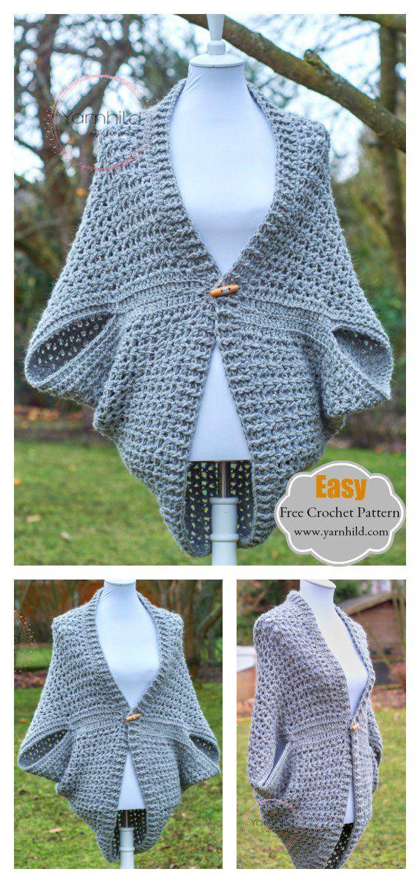 Easy Cocoon Shrug Free Crochet Pattern
