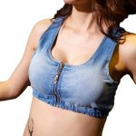 Edgy Street Style Denim Crop Top Cami