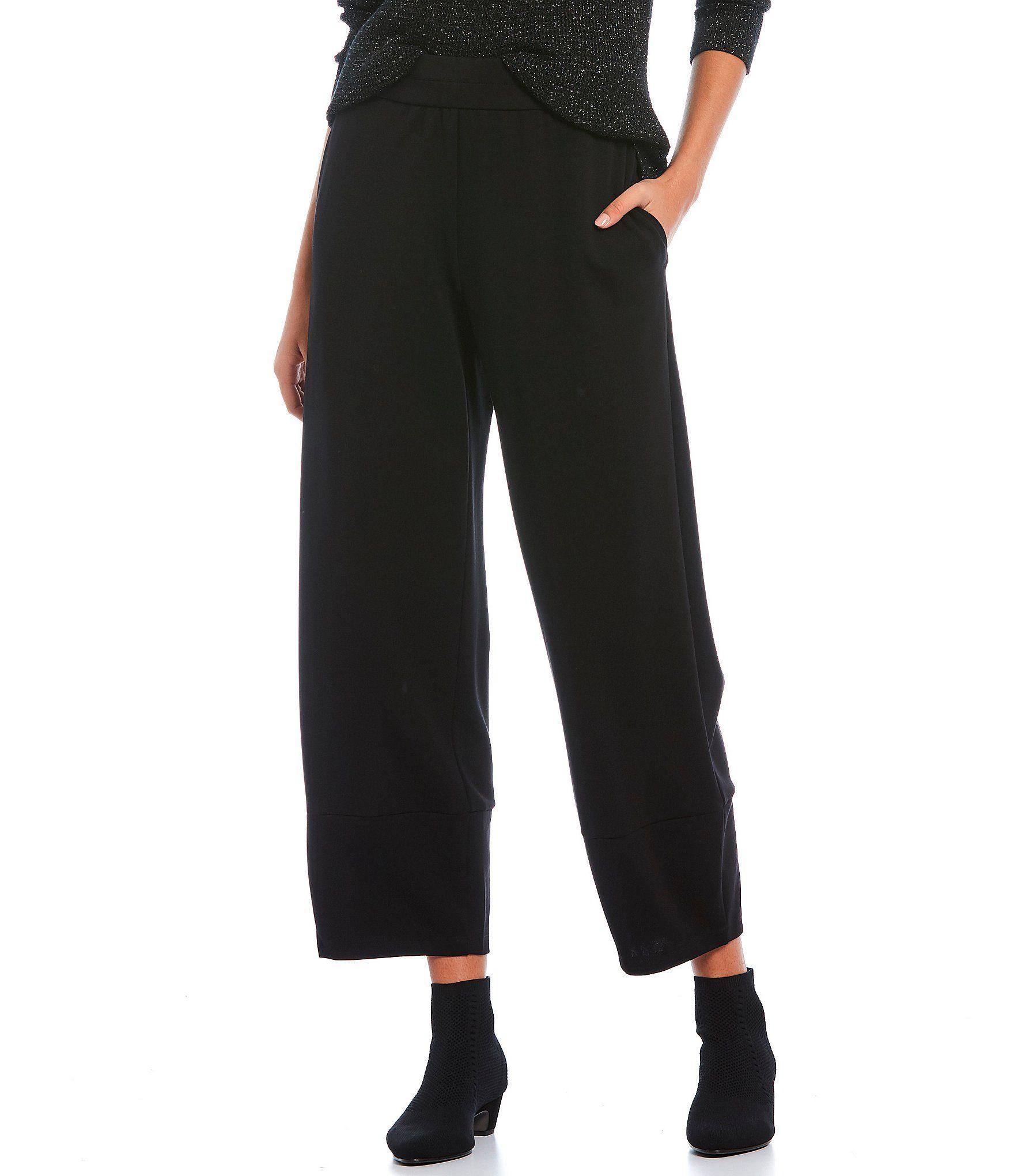 Eileen Fisher Ponte Wide Leg Lantern Pants – Black XL