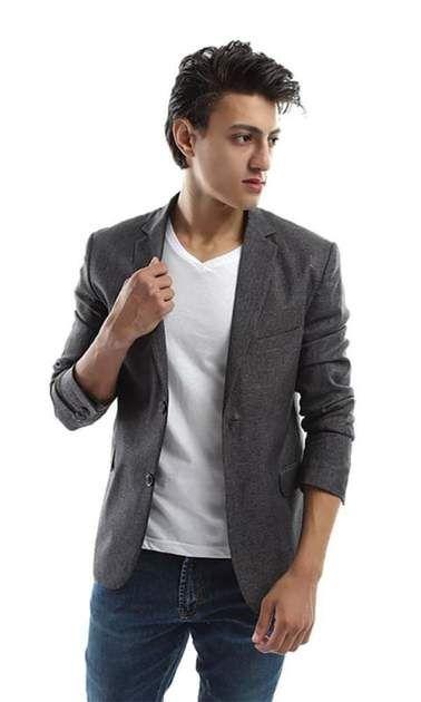 Elegant Long Sleeves Men Blazer – Grey