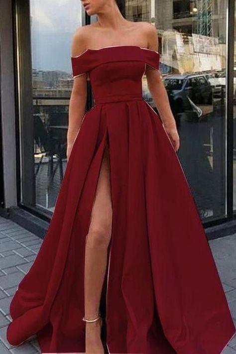 Elegant Off the Shoulder Burgundy Satin Long Formal Prom Dresses Evening Fancy Dress