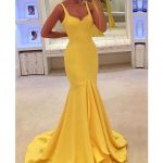 Elegant Prom Dress, 2019 Straps Satin Zipper Up Sweep Train Mermaid Evening Dresses